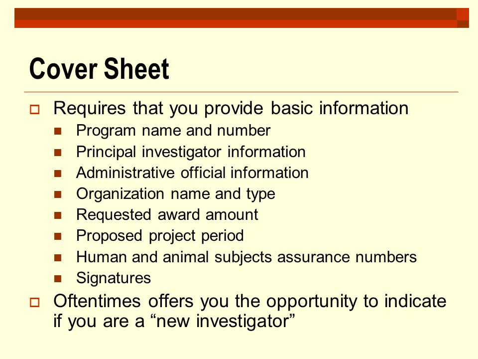 Cover Sheet Requires that you provide basic information
