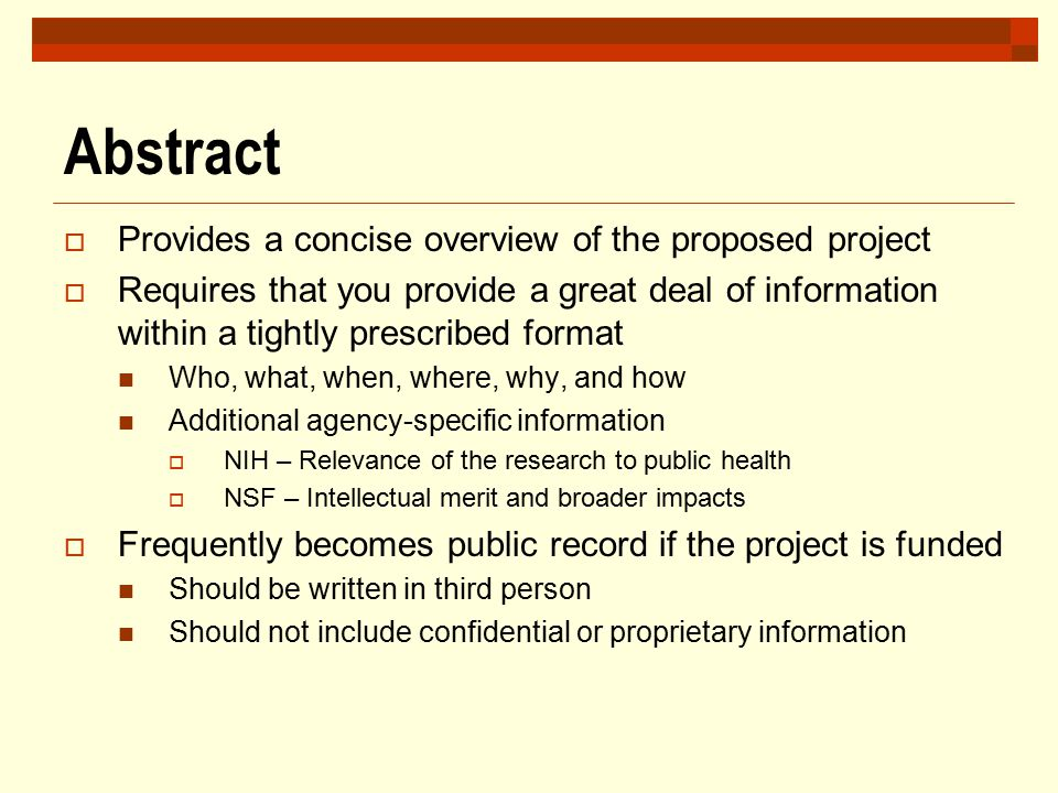 Abstract Provides a concise overview of the proposed project