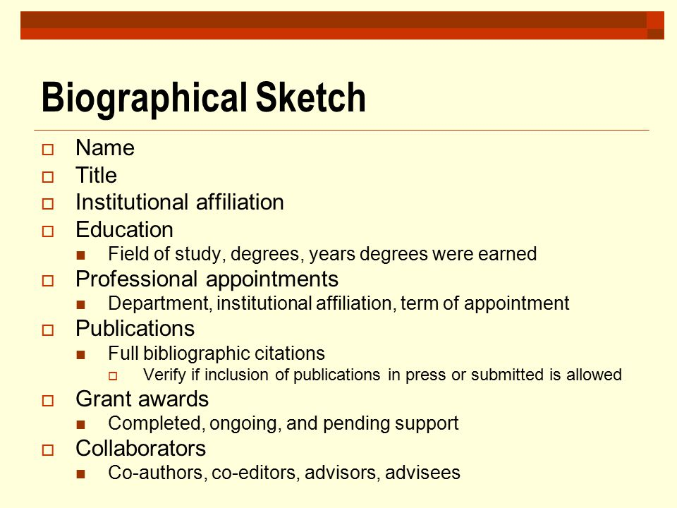 Biographical Sketch Name Title Institutional affiliation Education