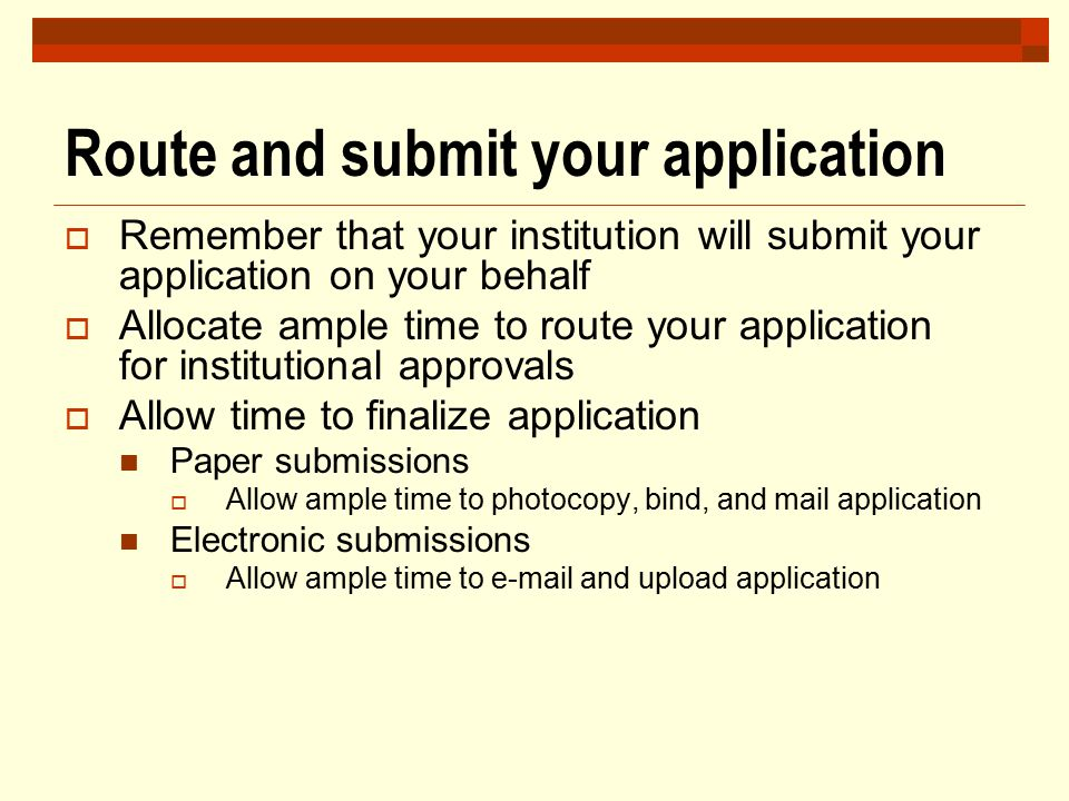 Route and submit your application