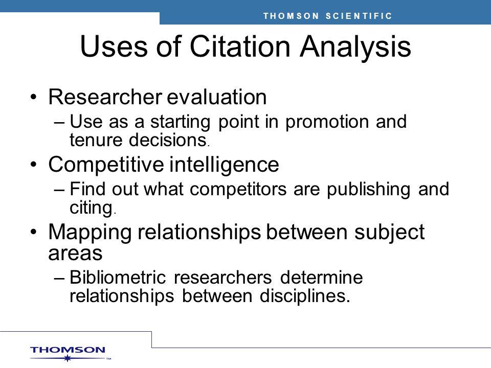 Uses of Citation Analysis