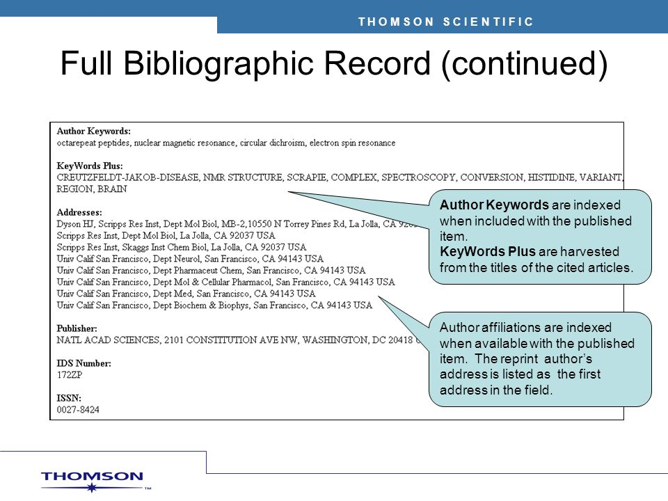 Full Bibliographic Record (continued)