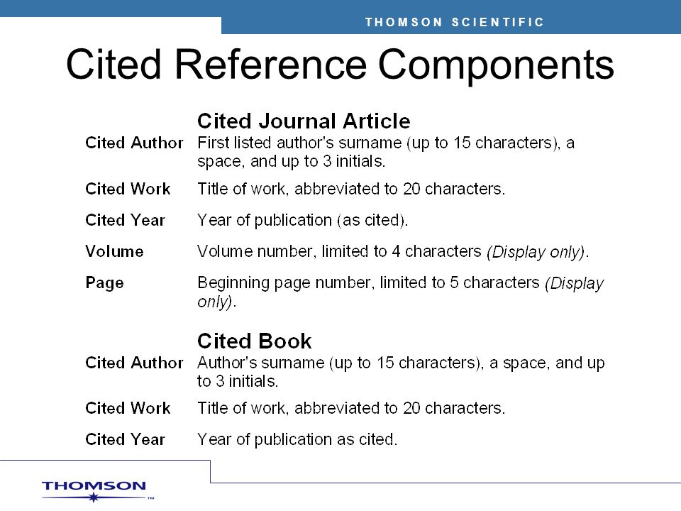 Cited Reference Components