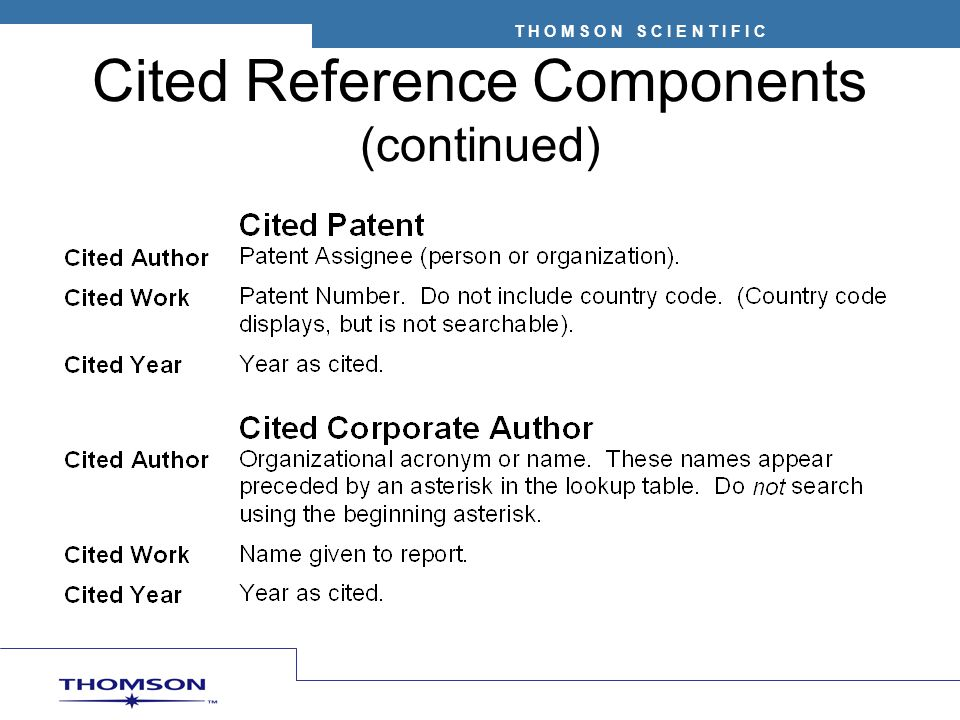 Cited Reference Components (continued)