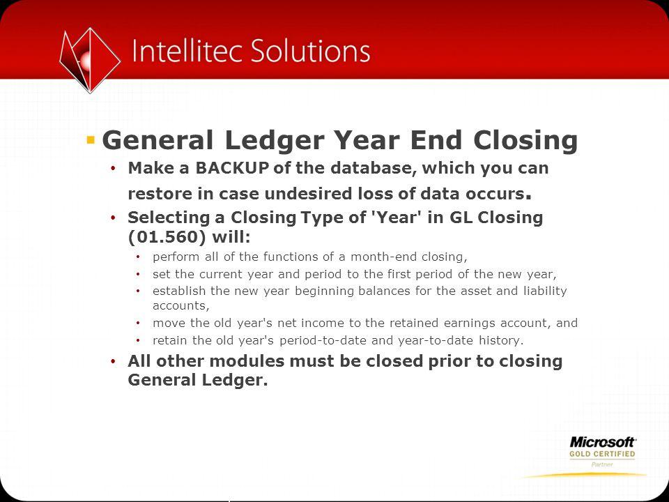 General Ledger Year End Closing