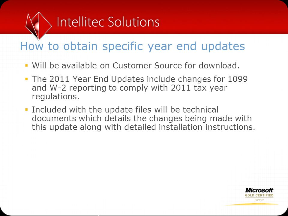 How to obtain specific year end updates