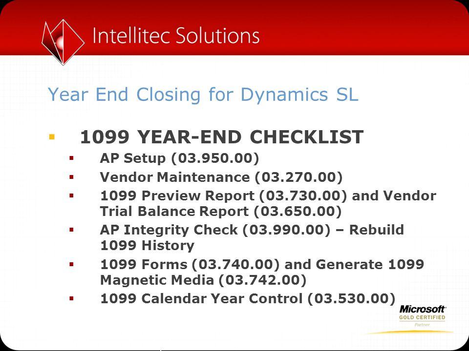 Year End Closing for Dynamics SL