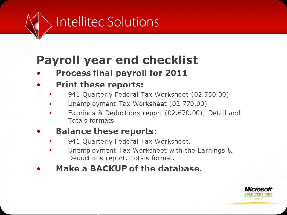 Payroll year end checklist