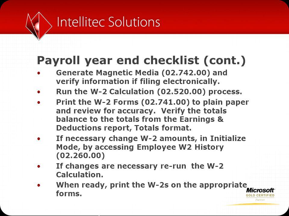 Payroll year end checklist (cont.)