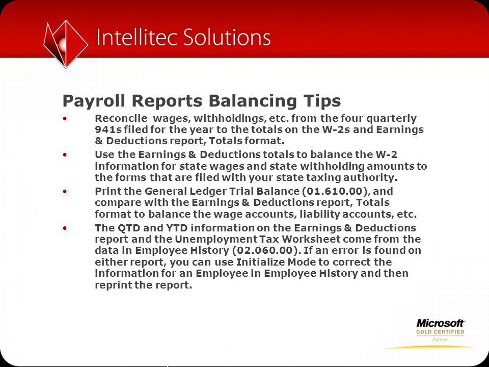 Payroll Reports Balancing Tips