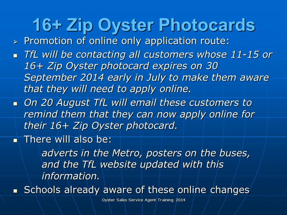 16+ Zip Oyster Photocards