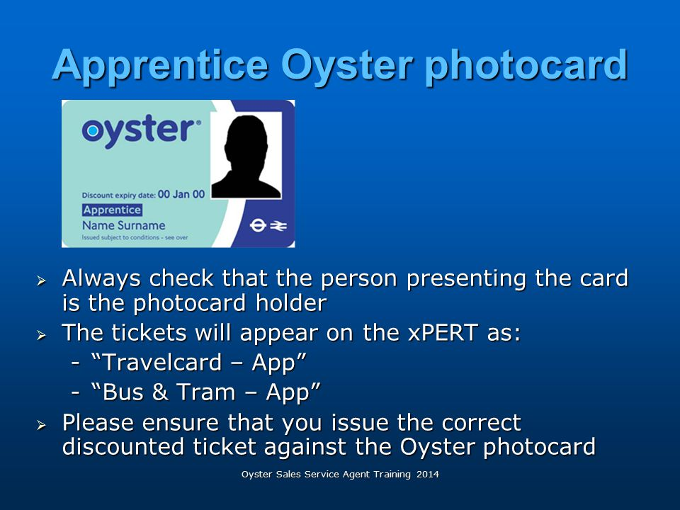 Apprentice Oyster photocard