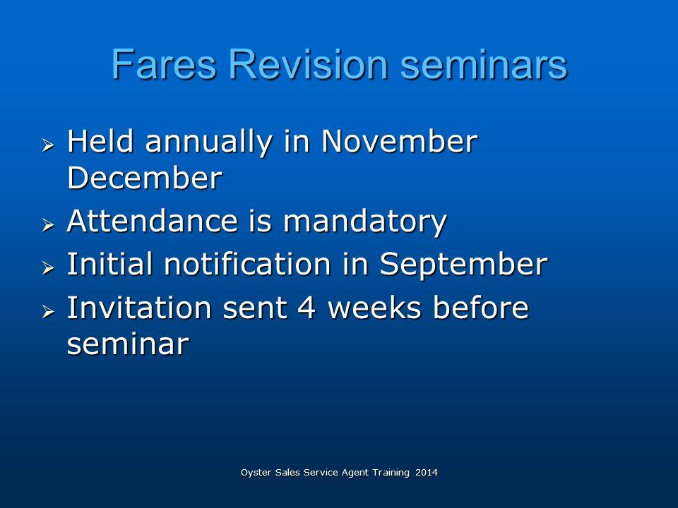 Fares Revision seminars