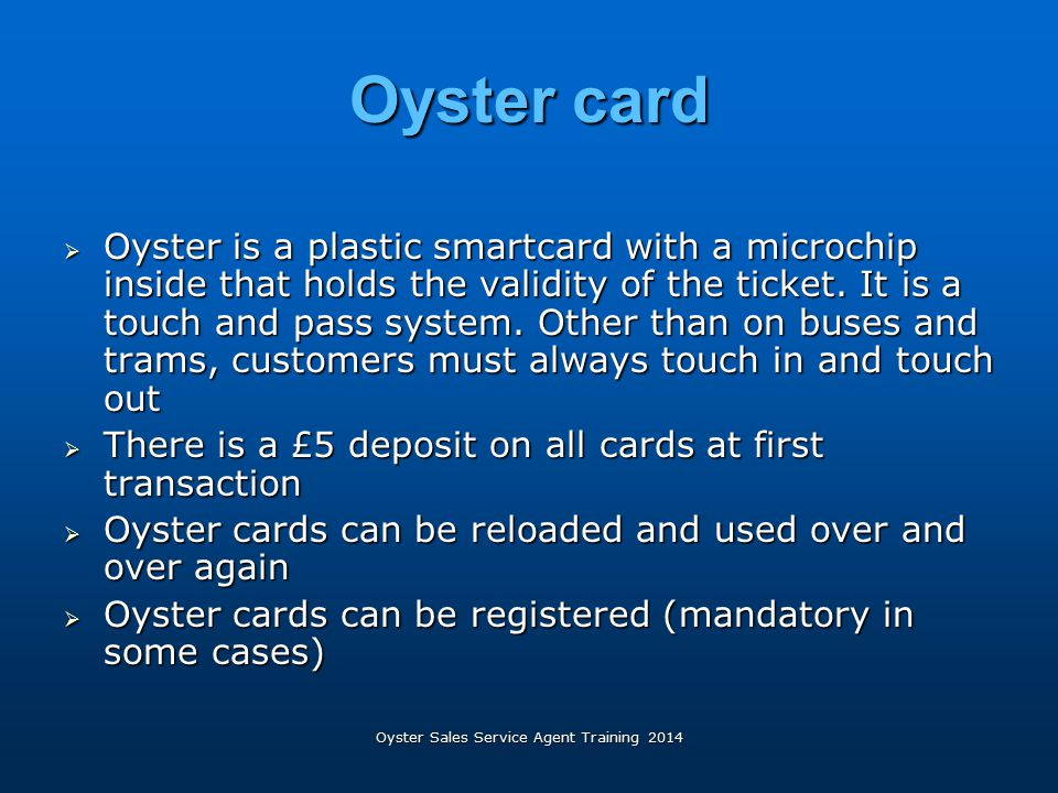 Oyster Sales Service Agent Training 2014