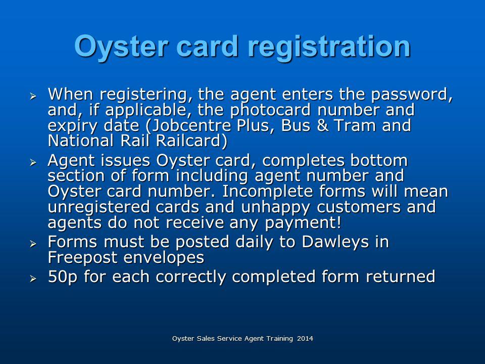 Oyster card registration