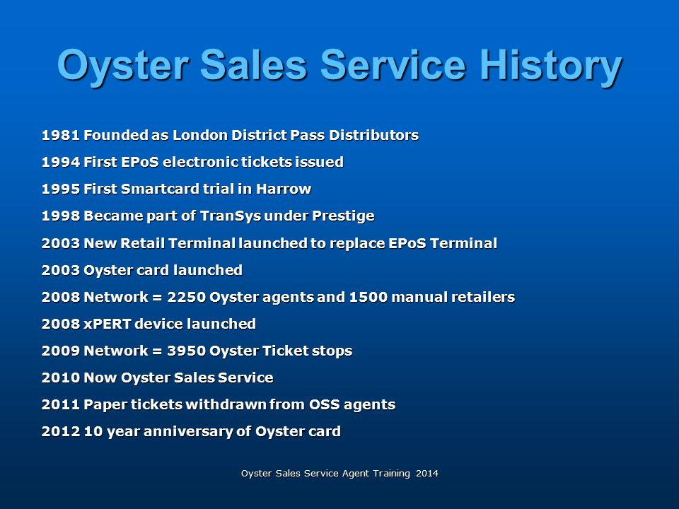 Oyster Sales Service History