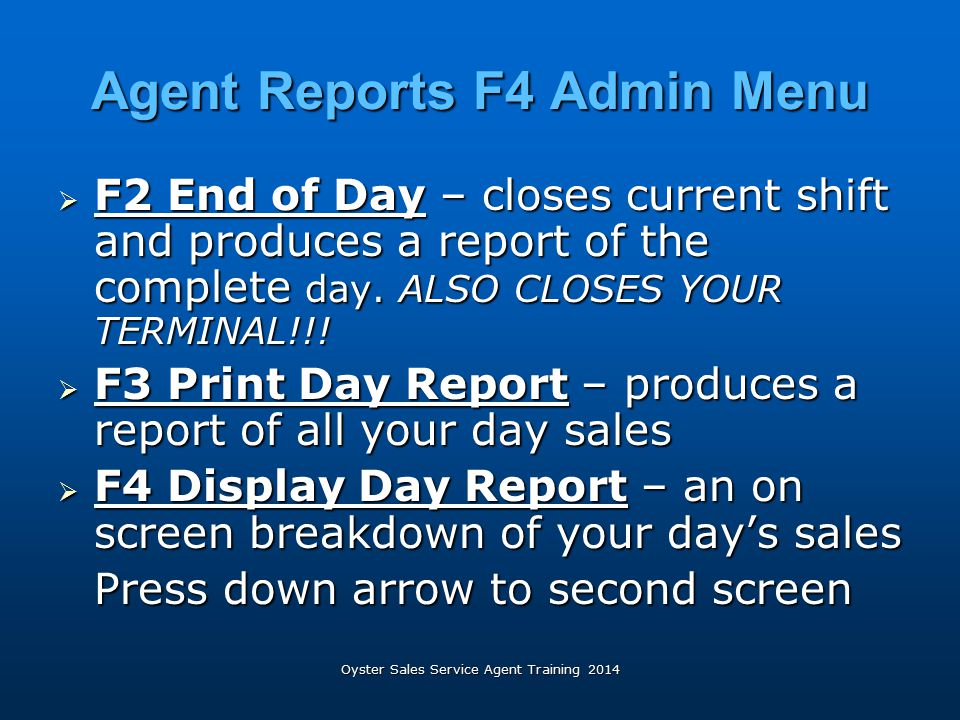 Agent Reports F4 Admin Menu