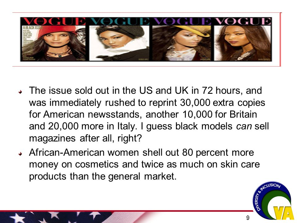 The issue sold out in the US and UK in 72 hours, and was immediately rushed to reprint 30,000 extra copies for American newsstands, another 10,000 for Britain and 20,000 more in Italy. I guess black models can sell magazines after all, right