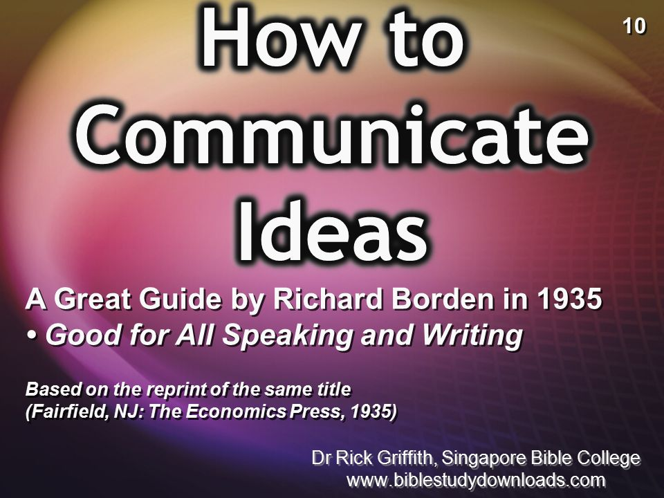 How to Communicate Ideas