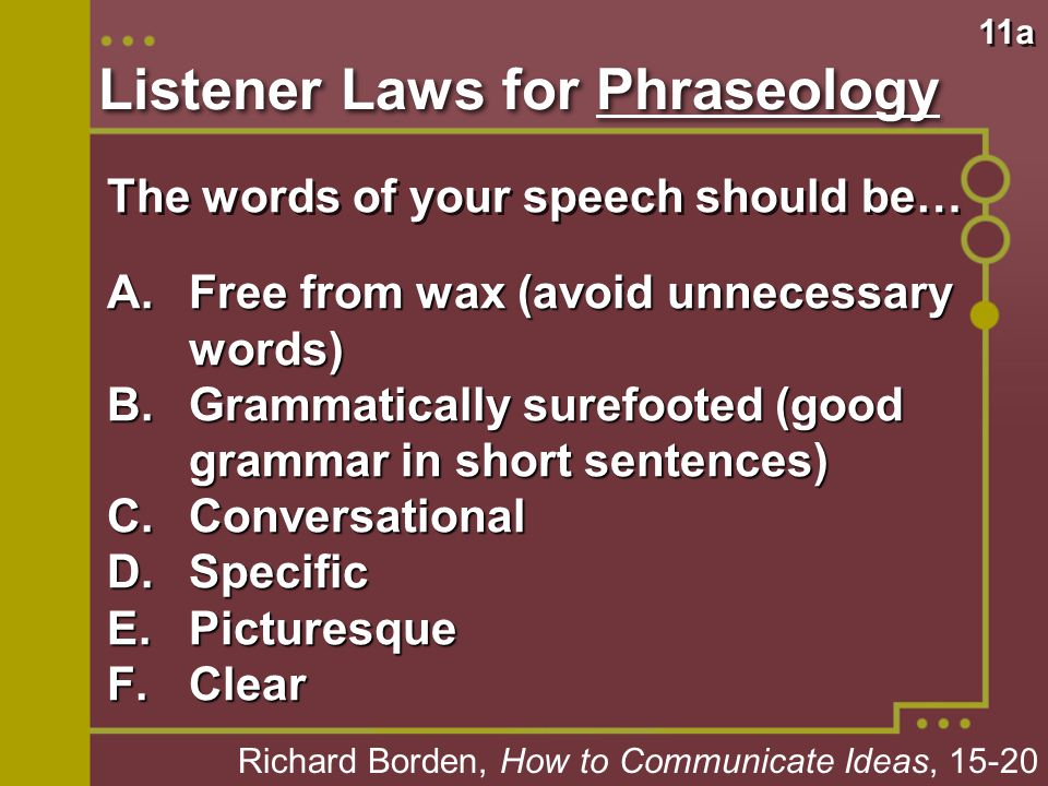 Listener Laws for Phraseology