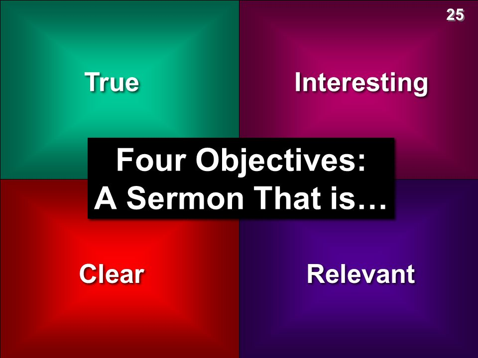 Four Objectives: A Sermon That is…