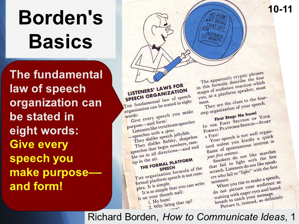 Borden s Basics 10-11. The fundamental law of speech organization can be stated in eight words: Give every speech you make purpose––and form!