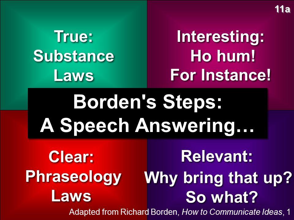 Borden s Steps: A Speech Answering…