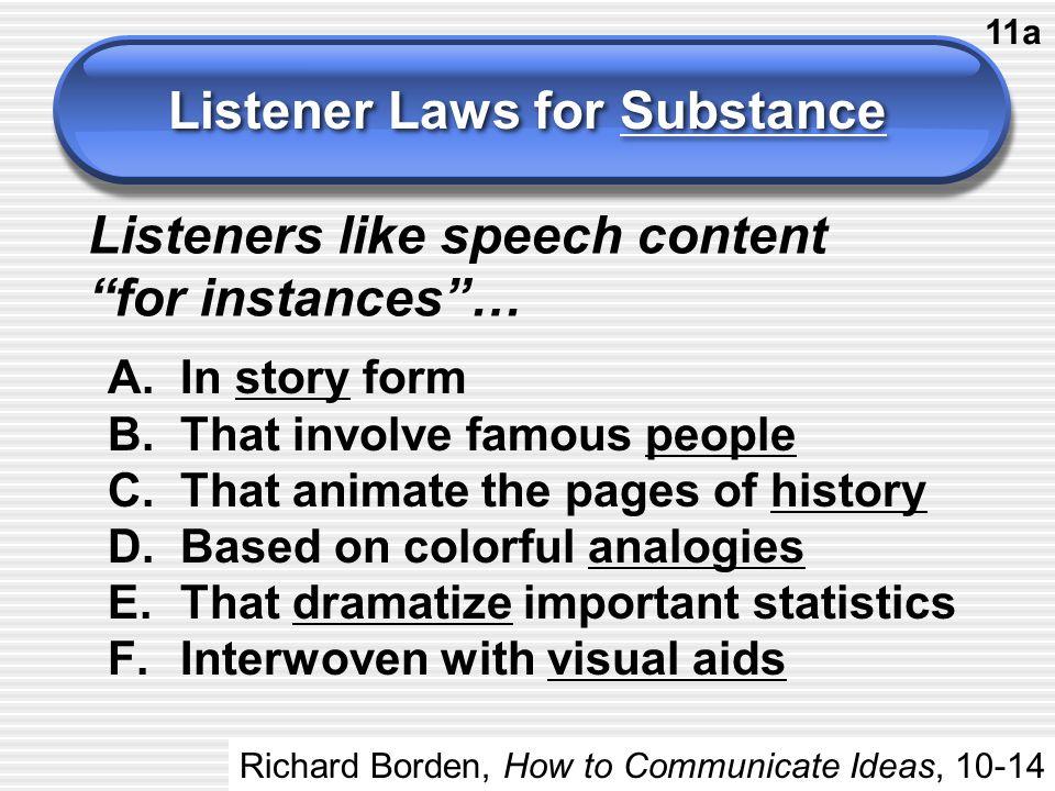 Listener Laws for Substance