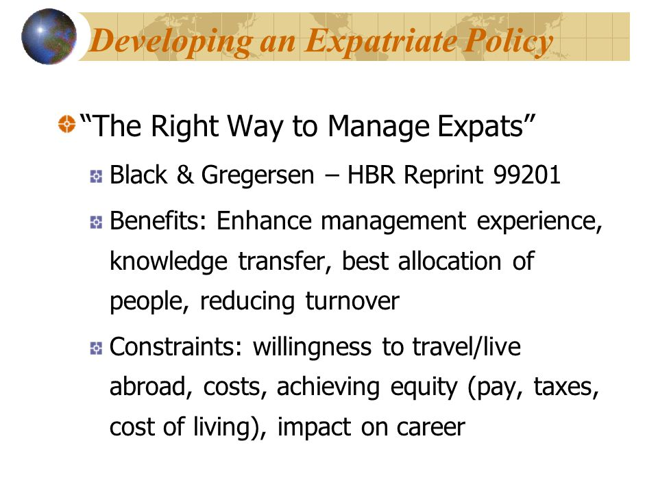 Developing an Expatriate Policy