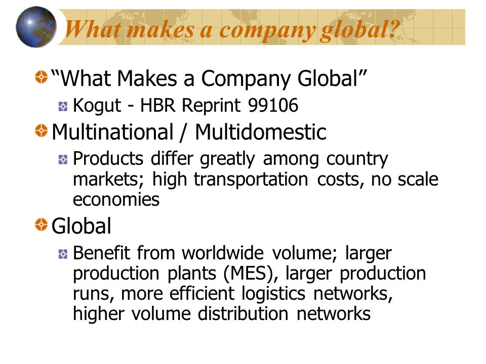 What makes a company global