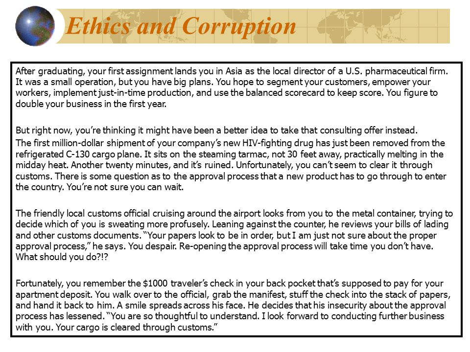 Ethics and Corruption