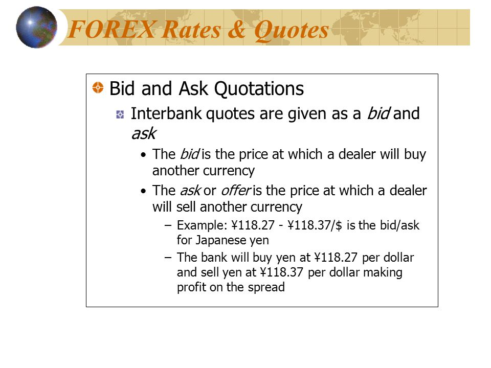FOREX Rates & Quotes Bid and Ask Quotations