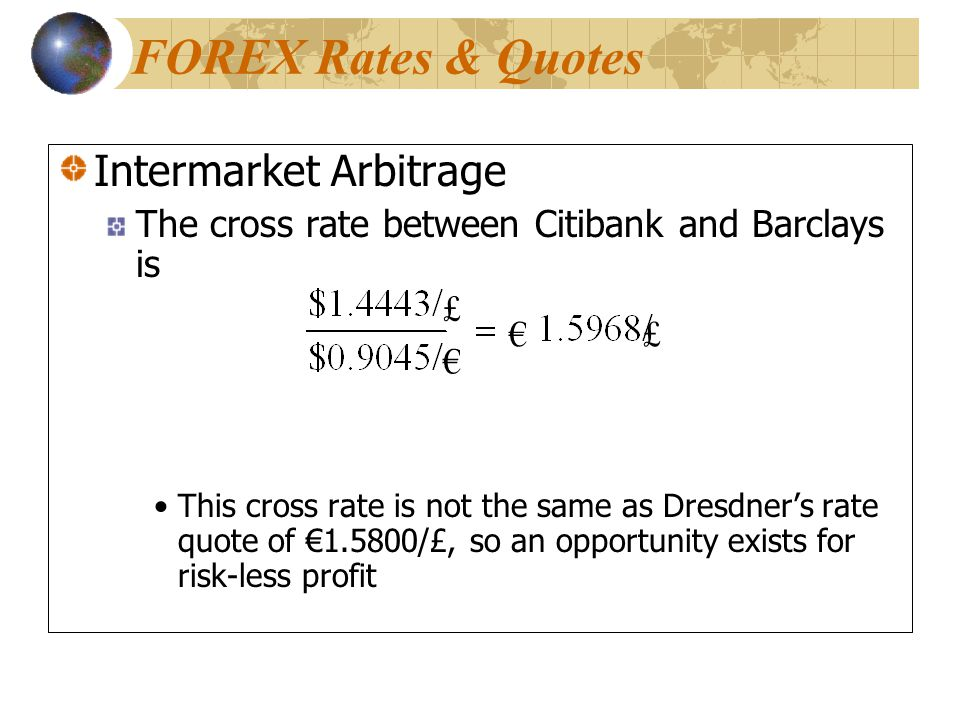 FOREX Rates & Quotes Intermarket Arbitrage