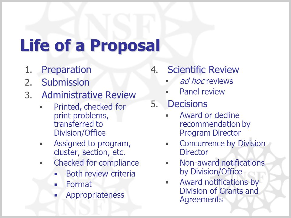 Life of a Proposal Preparation Submission Administrative Review