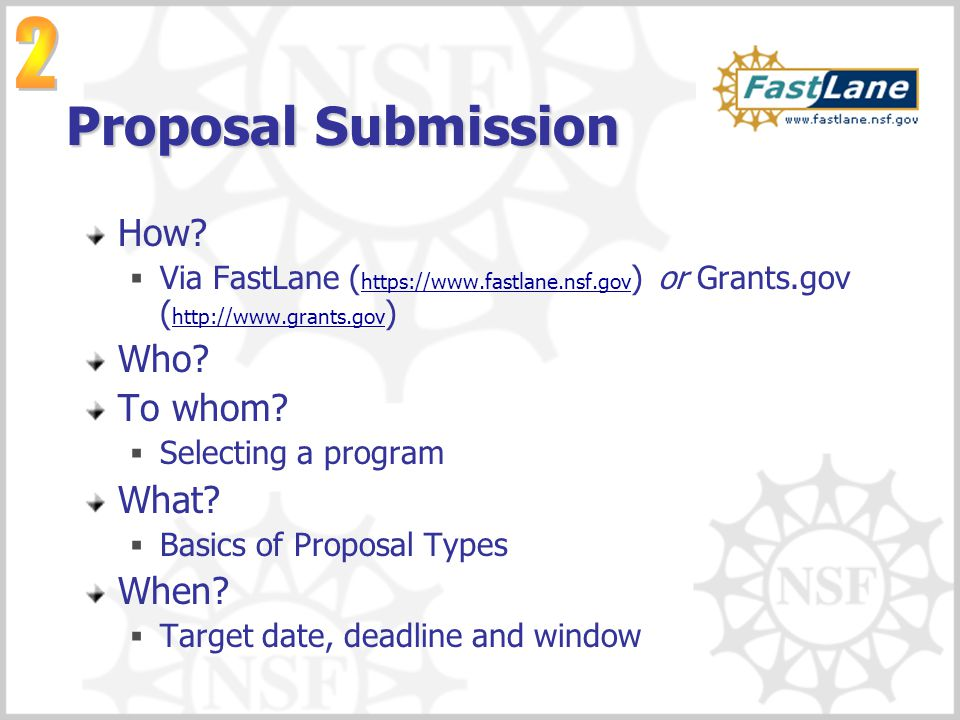 Proposal Submission 2 How Who To whom What When