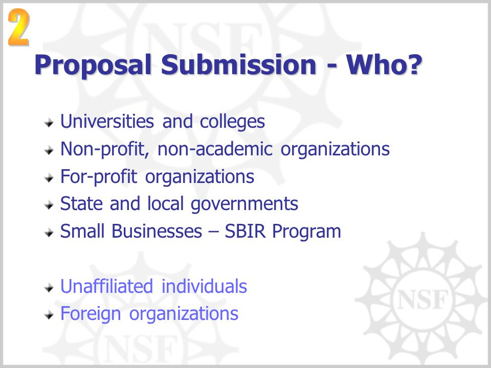 Proposal Submission - Who