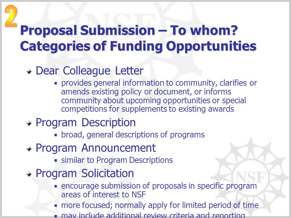 Proposal Submission – To whom Categories of Funding Opportunities