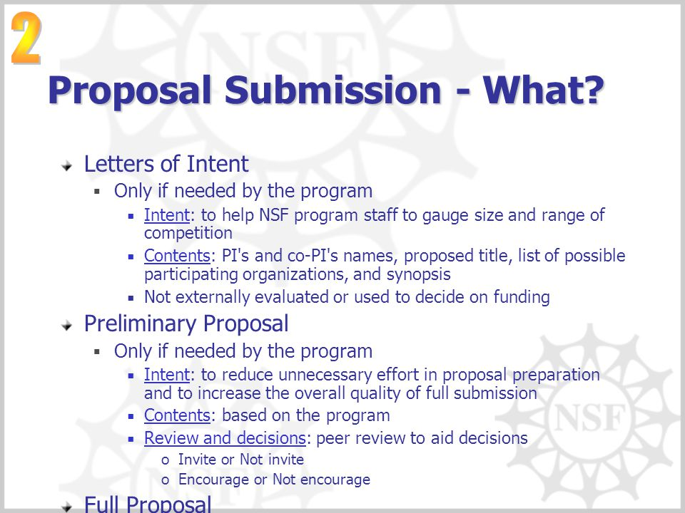 Proposal Submission - What