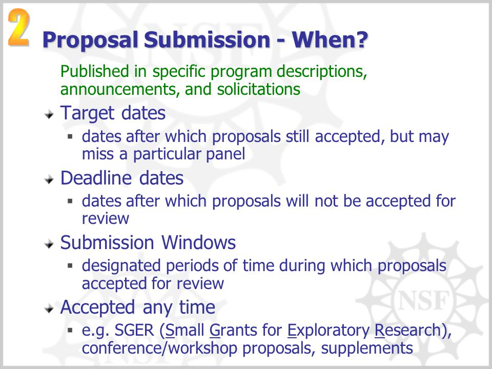 Proposal Submission - When