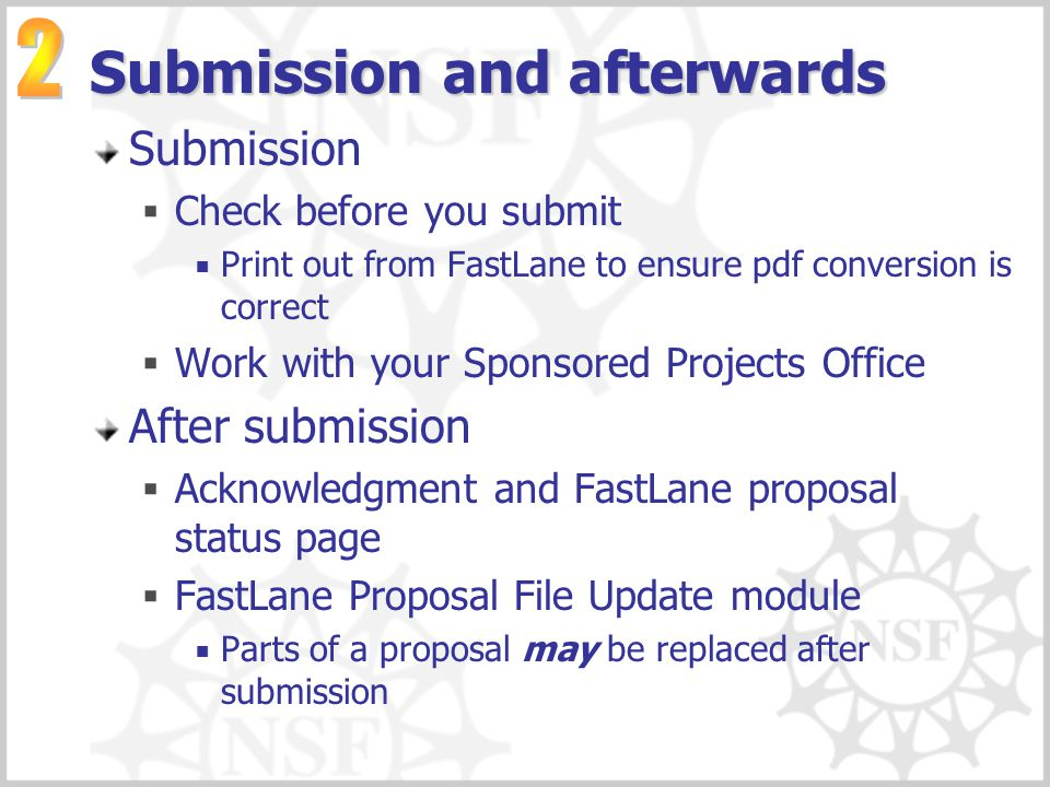 Submission and afterwards
