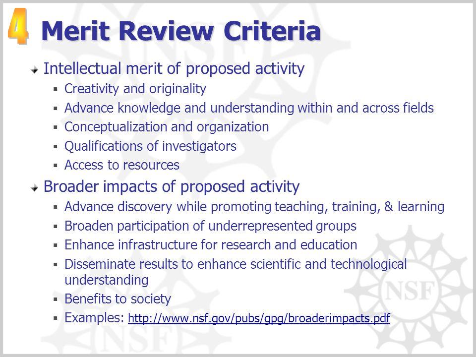 Merit Review Criteria 4 Intellectual merit of proposed activity