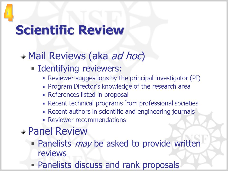 Scientific Review 4 Mail Reviews (aka ad hoc) Panel Review
