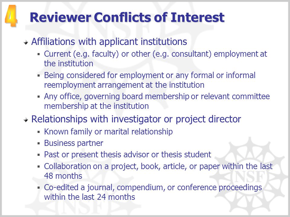 Reviewer Conflicts of Interest