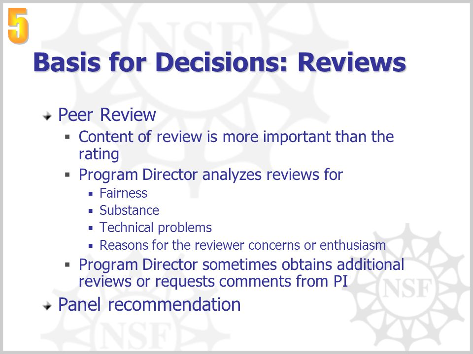 Basis for Decisions: Reviews