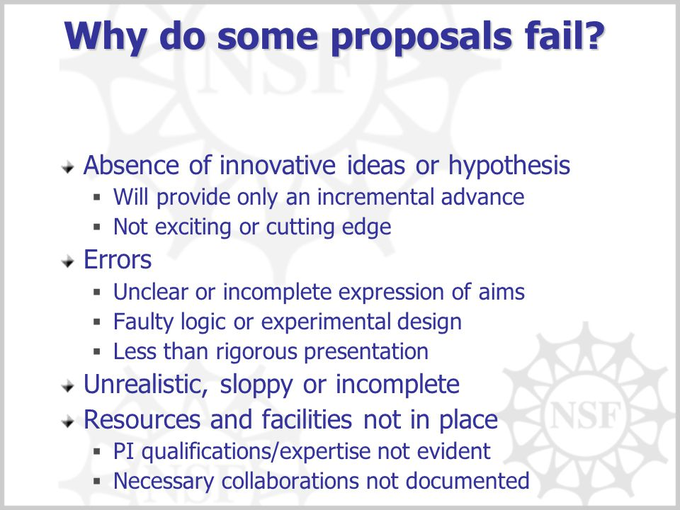Why do some proposals fail