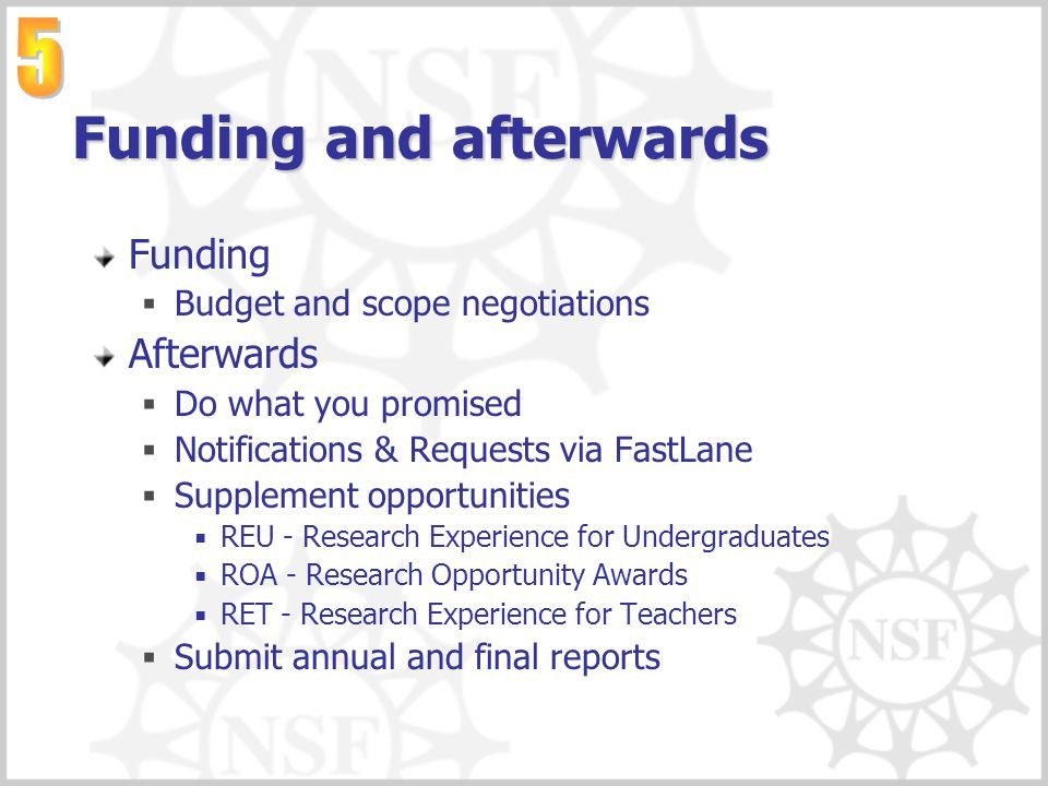 Funding and afterwards