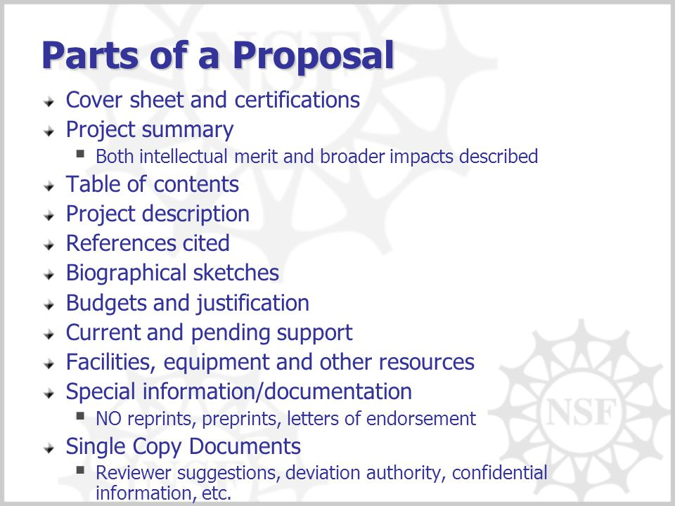 Parts of a Proposal Cover sheet and certifications Project summary