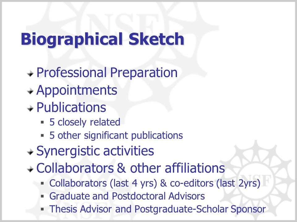 Biographical Sketch Professional Preparation Appointments Publications