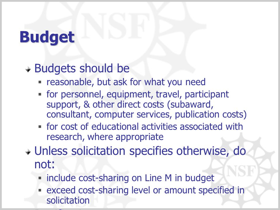 Budget Budgets should be