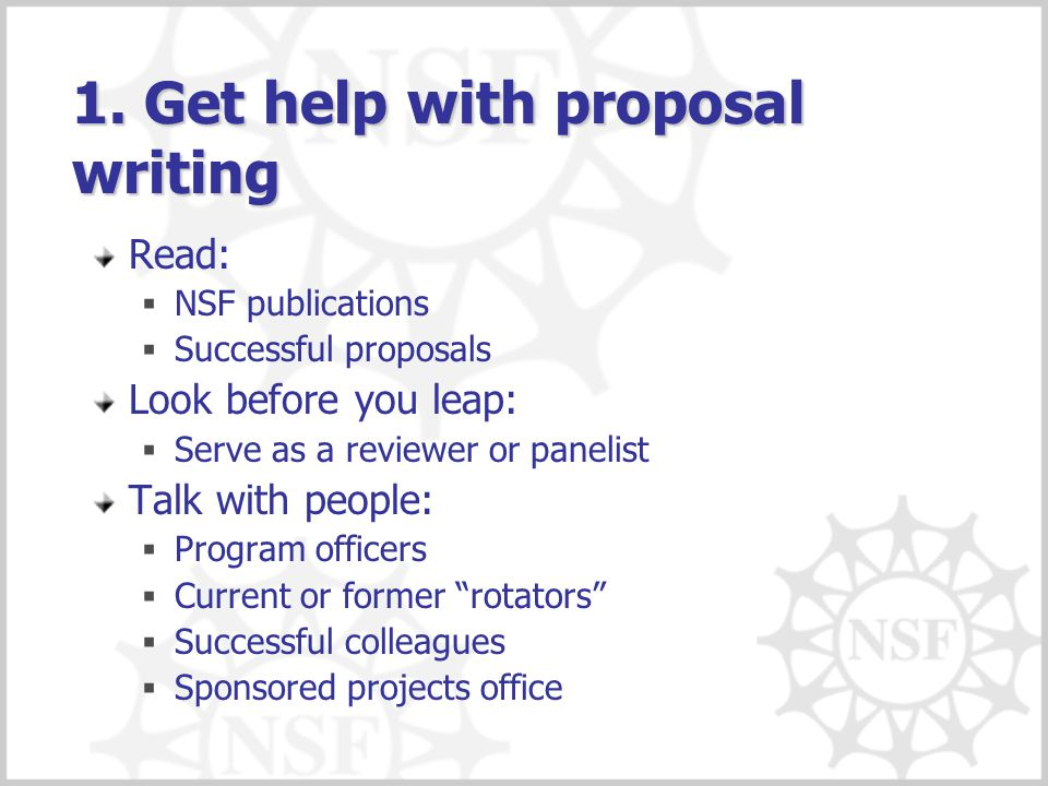 1. Get help with proposal writing